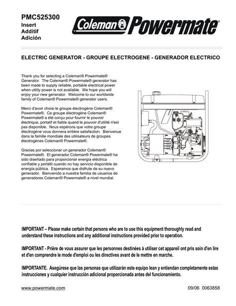 Powermate PMC525300 Portable Generator User Manual   Manualzz
