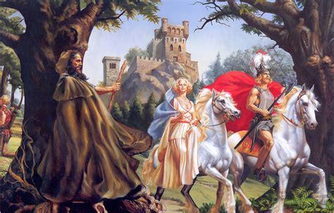 wallpaper castle mag  wizard white horses rowena