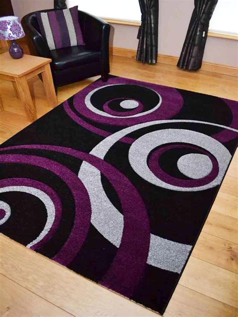 purple and black rug new small large purple and silver black thick carved floor rugs rug ebay