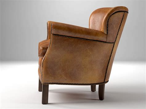Restoration Hardware Leather Chair by Professor S Leather Chair With Nailheads 3d Model