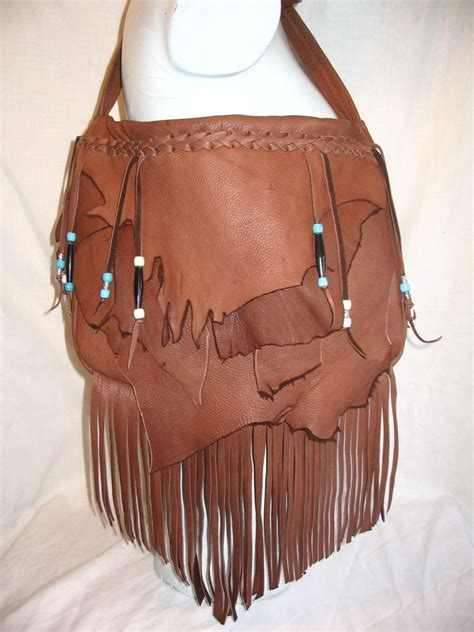 Handmade Leather Purses - handmade leather fringed purse marsala brown deerskin hobo