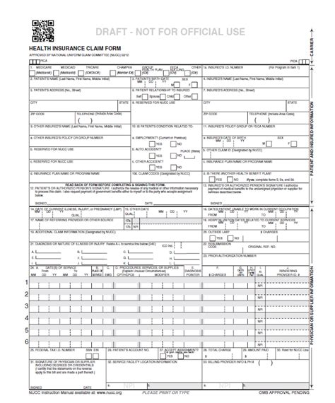 health insurance claim form 1500 template 1500 health insurance claim form template business template