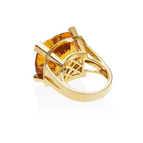 Citrine Rings by Paradigm Large Yellow Gold Citrine Ring Anakao Jewellery
