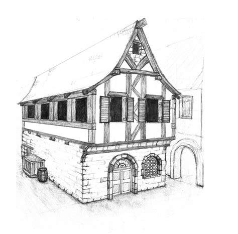 haus zeichnung fachwerk haus mittelalter skizze architecture drawing