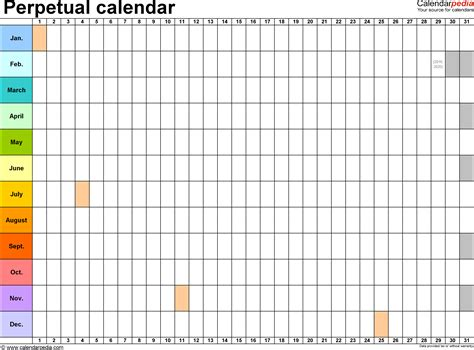 weekend only calendar template perpetual calendars 7 free printable excel templates