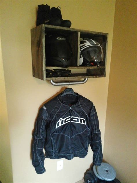 motorcycle riding clothes just made some wall storage for my gear nice to have one