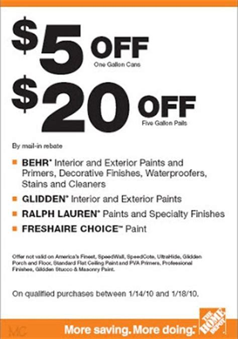 new paint rebate from home depot behr glidden ralph