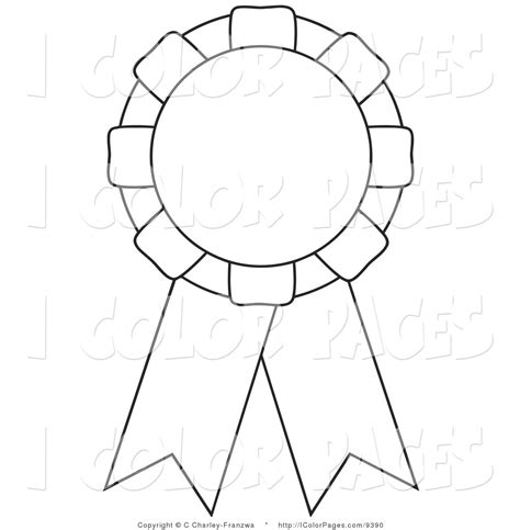 coloring page ribbon 1st place ribbon black and white clipart