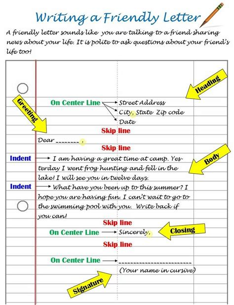 template for a friendly letter printable friendly letter format friendly letter