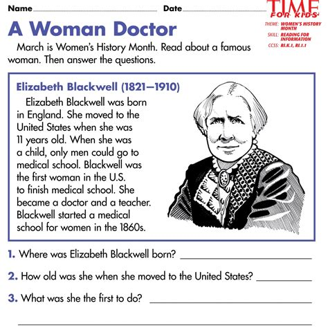 biography reading comprehension ks2 a woman doctor english worksheets ks2 free printable women