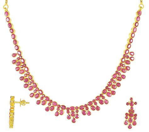 Gold Ruby Necklace Set 22kt Gold Stps2740 22kt Gold