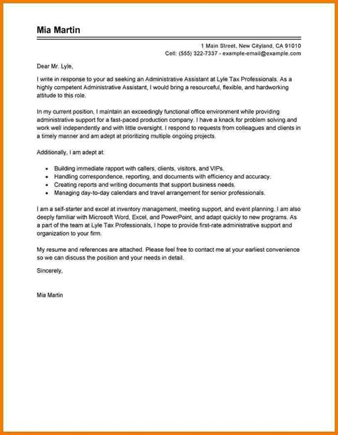 cover letter exles for admin administrative assistant cover letter sle assistant