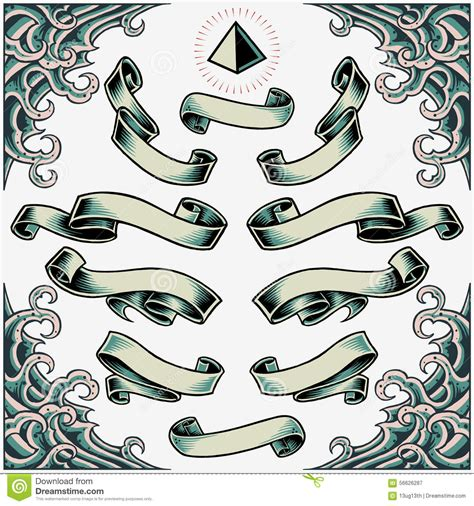 tattoo old school vector wave frame ribbons and pyramid stock vector image 56626287