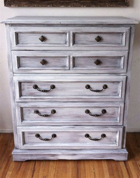 Distressed Dresser White by Vintage Drexel Wood White Distressed Dresser