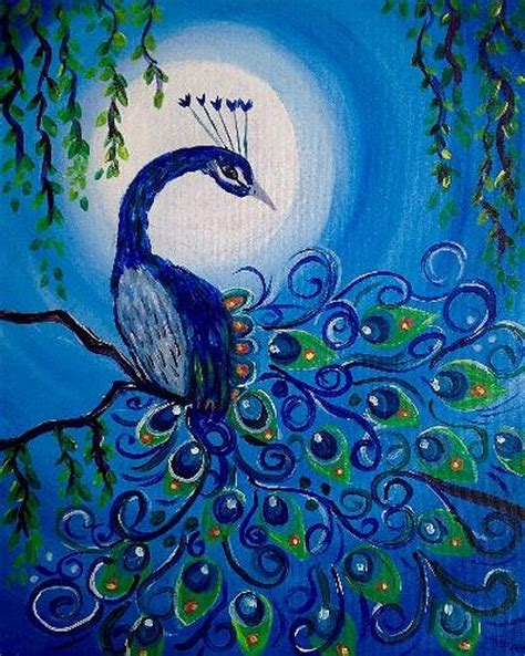 paint nite kanata paint nite moonlit peacock