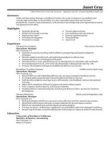 operations management resume templates resume templates 2017