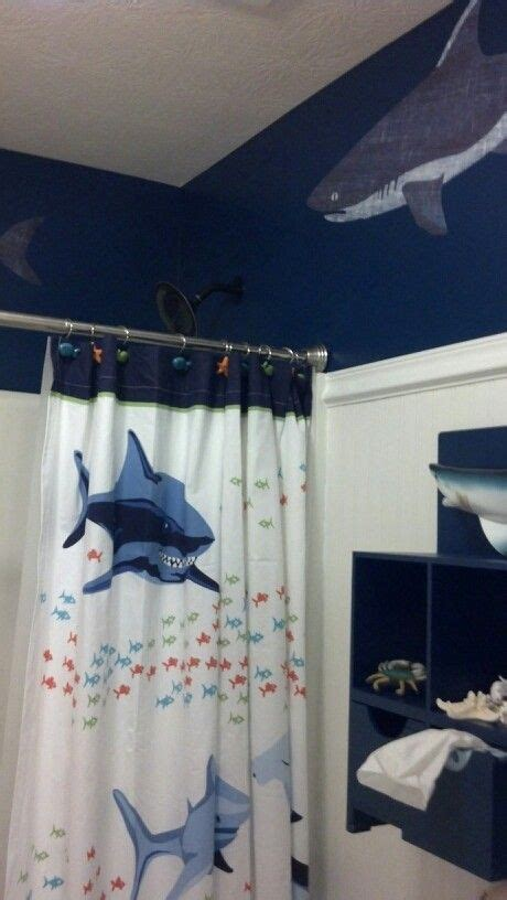 boys shower curtains shower curtain from pottery barn boy s shark bathroom