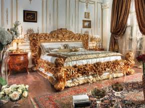 Golden hand made carvings bedtop and best italian classic furniture