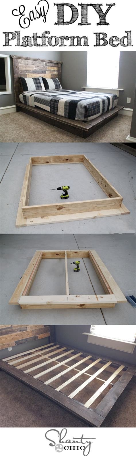 Diy Platform Bed Plans Diy Furniture Project Plan From Shanty2chic Learn How To Build An Easy Platform Bed Home