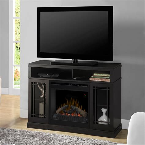 electric fireplace media console farley black electric fireplace media console w logs