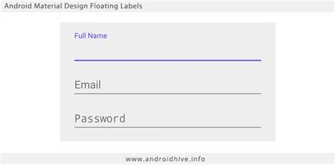 text input layout in android android material design floating labels for edittext
