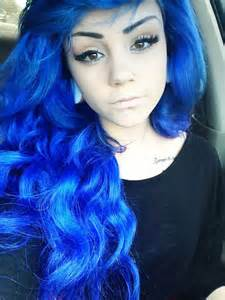 blue dyed hair pretty