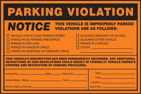 Notice Vehicle Improperly Parked Violations Parking Violation Labels Parking Warning Notice Template