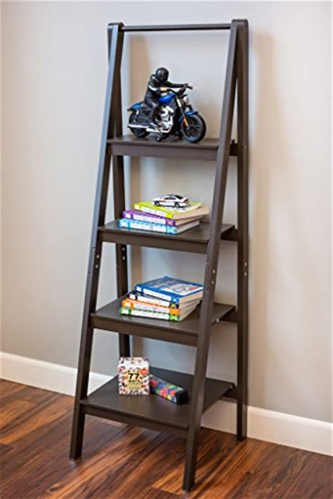 Espresso 4 Tier A Frame Ladder Bookshelf Bookcase A Frame Ladder Bookcase