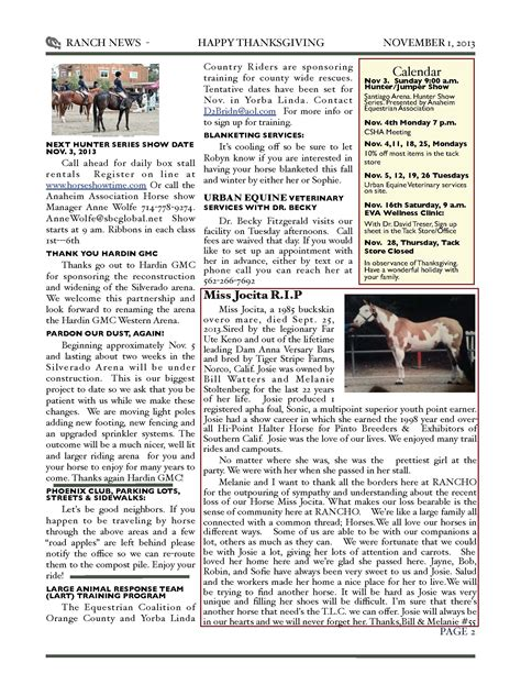anaheim equestrian november newsletter