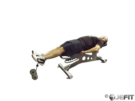 bench knee in lying cable knee raise on bench exercise database