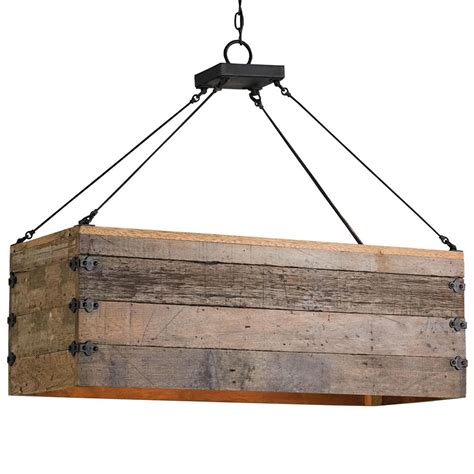 Rectangular Wood Chandelier Rustic Lodge Rectangular Wood Cart 3 Light Island Pendant Kathy Kuo Home