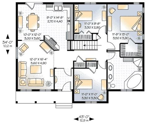 three bedroom house plans 1339 square feet 3 bedrooms 1 batrooms on 1 levels