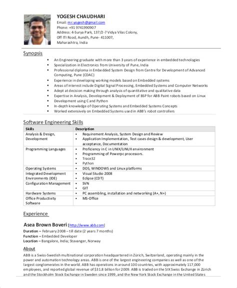Software Engineer Resume Example   9  Free Word, PDF