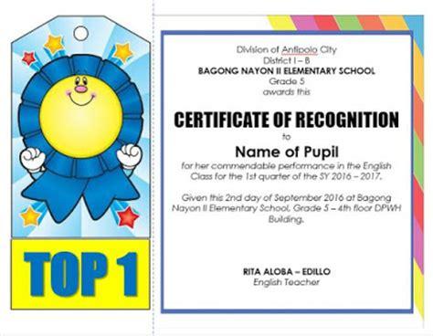 certificate design school editable quarterly awards certificate template deped
