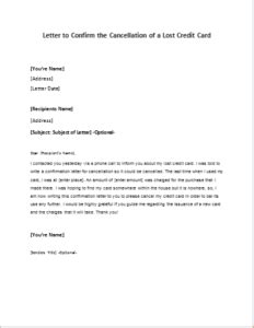 letter of credit cancellation fee letter to confirm the cancellation of a lost credit card