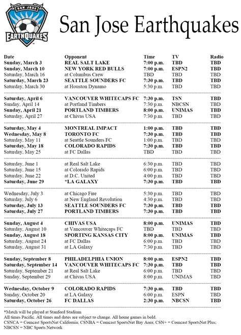printable mls schedule san jose earthquakes 2013 mls regular season schedule