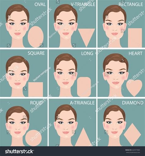 chin shape for woman set nine different womans face shapes stock vector