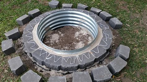 How To Build A Firepit With Pavers My Pit Build Project Using Retaining Wall Blocks Galvanised Self Sufficient Culture