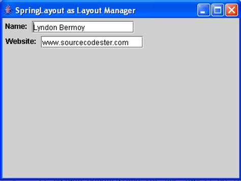 java jframe layout manager exle springlayout as layout manager in java free source code