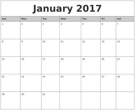 printable calendar months 2017 january 2017 monthly calendar printable