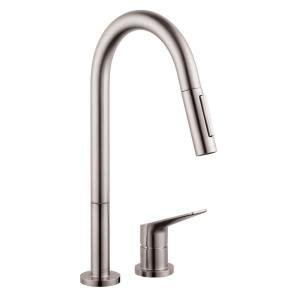 axor citterio kitchen faucet hansgrohe axor citterio m single handle pull sprayer kitchen faucet in steel optik 34822801