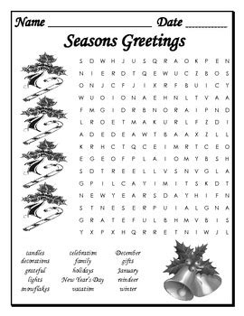Seasons Greetings Word Search by Comfy Cozy Classroom | TpT