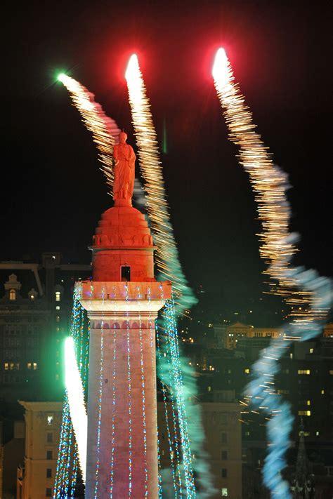 monument lighting  mount vernon baltimore sun