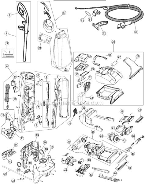 hoover carpet cleaner parts diagram hoover fh50035 parts list and diagram ereplacementparts
