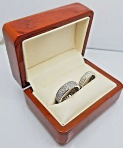 luxury real wood walnut double wedding ring box engagement recommended by sharon ebay