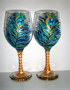Painted Wine Glasses Peacock Feathers Painted Wine Glass 1 20 Oz Handpainted