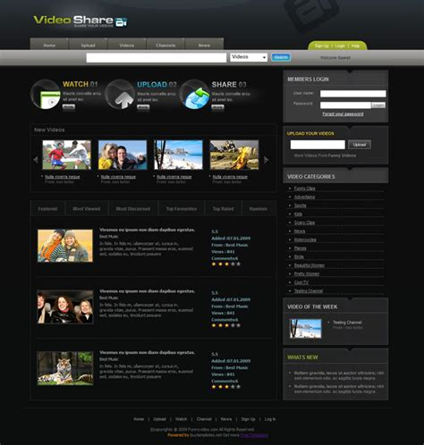 videoshare video sharing website template templates