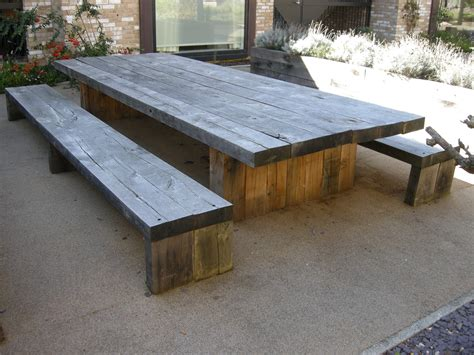Garden And Patio Large And Long Diy Rustic Solid Wood Patio Table With Bench Seating