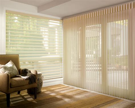 Vinyl Patio Doors With Blinds Between The Glass Sheer Vertical Blinds Metro Blinds Window Treatments