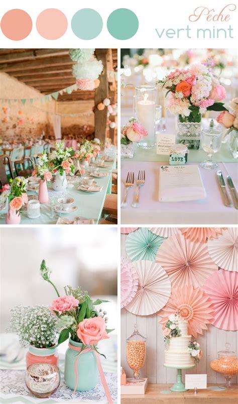 theme rose et vert d 233 coration de mariage couleurs p 234 che et vert mint